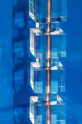 Installation Art Photograph - Stacked Cubes On Blue by Art Block Collections