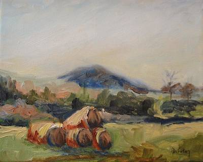 Bales Painting - Stacked Hay Bales by Donna Tuten
