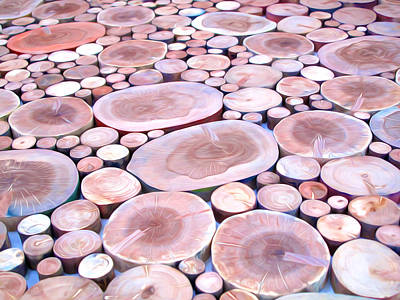 Woodpile Painting - Stacked Logs Background by Lanjee Chee