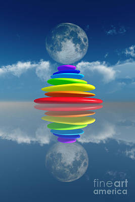 Stacked Rainbow Colored Stones Art Print by Aleksey Tugolukov