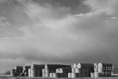 Hay Photograph - Stacked Round Hay Bales Bw by James BO  Insogna