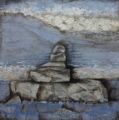 Abstract Collage Mixed Media - Stacking Rock Bluei by Laura  Lein-Svencner