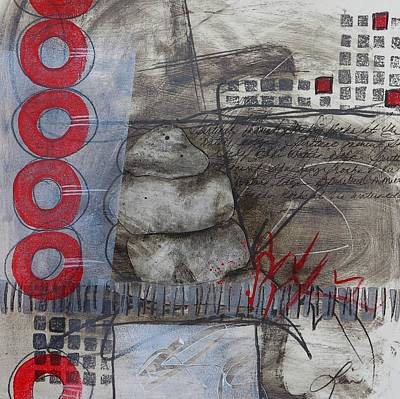 Abstract Collage Mixed Media - Stacking Rock Red I by Laura  Lein-Svencner