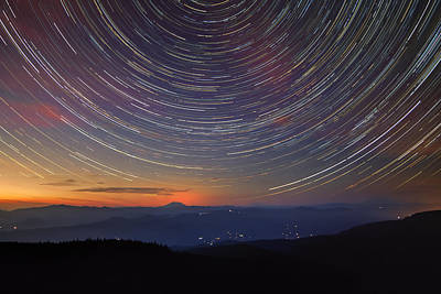 Trail Photograph - Stacking The Stars At Larch Mountain by David Gn