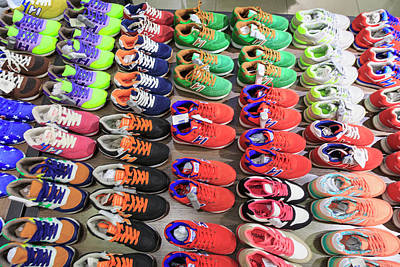 Discount Wall Art - Photograph - Stacks Of Athletic Shoes, Shops by Stuart Westmorland