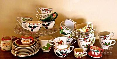 Photograph - Stacks Of Christmas Teacups  by Nancy Patterson
