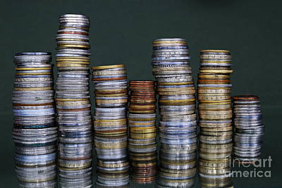 Photograph - Stacks Of International Coins by Sami Sarkis