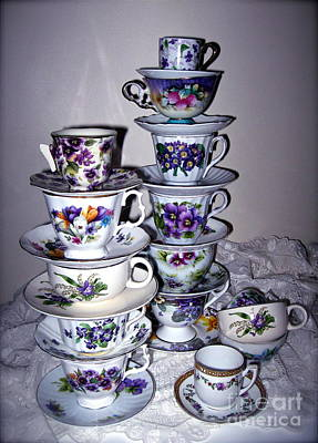 Photograph - Stacks Of Purple Teacups  by Nancy Patterson
