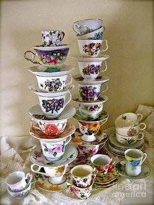 Photograph - Stacks Of Spring Teacups  by Nancy Patterson