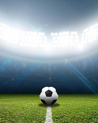 Sports Royalty-Free and Rights-Managed Images - Stadium And Soccer Ball by Allan Swart