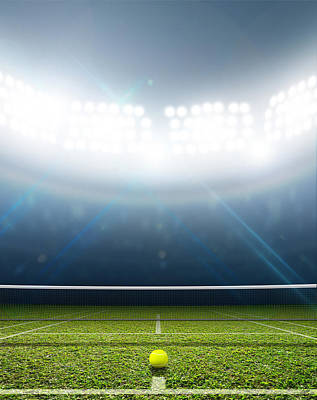 Illumination Digital Art - Stadium And Tennis Court by Allan Swart