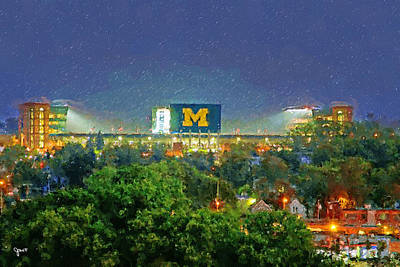 University Of Michigan Painting - Stadium At Night by John Farr