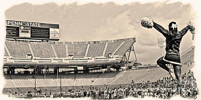 Penn State University Photograph - Stadium Cheer Black And White by Tom Gari Gallery-Three-Photography