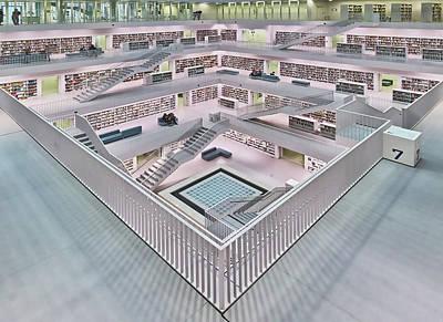 Library Wall Art - Photograph - Stadtbibliothek Stuttgart Inner Space I by Rolf Mauer
