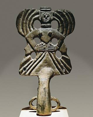 Religious Amulet Photograph - Staff Head Goddess. Bronze, 17 Cm. 4th by Everett