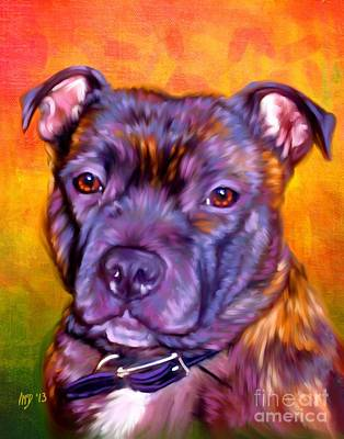 Staffie Painting - Staffie Artwork by Iain McDonald