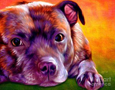 Staffie Painting - Staffie Staffordshire Bull Terrier by Iain McDonald