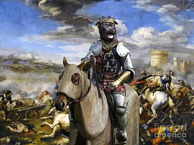 Staffordshire Bull Terrier Painting - Staffordshire Bull Terrier Art - Call Of The King Final Battle by Sandra Sij