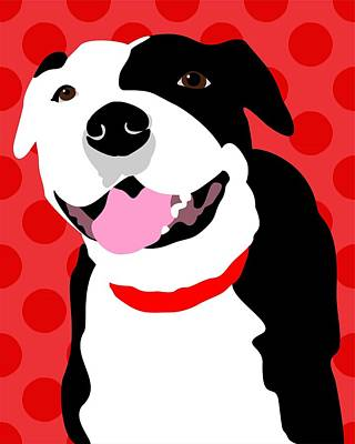Staffordshire Bull Terrier Digital Art - Staffordshire Bull Terrier Art Print by Ginger Oliphant