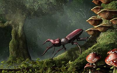 Mushroom Digital Art - Stag Beetle by Daniel Eskridge