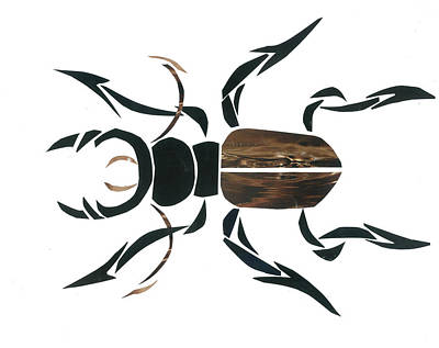Invertebrates Mixed Media - Stag Beetle Going Tribal by Earl ContehMorgan