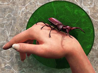 Mushroom Digital Art - Stag Beetle On Hand by Daniel Eskridge