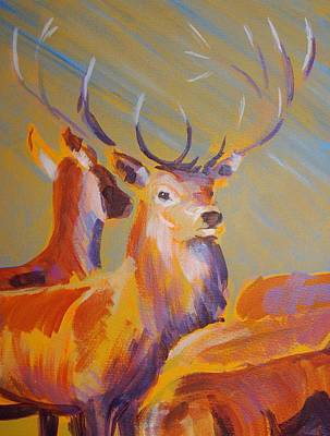 Deer Painting - Stag by Mike Jory