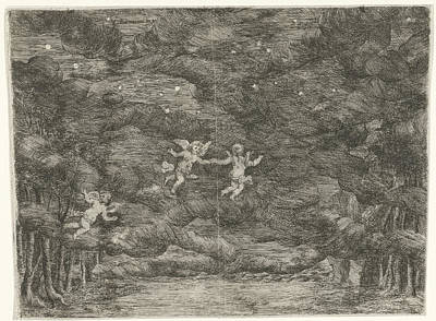 Night Angel Drawing - Stage Decoration With Angels In The Night Sky by Jan Van Ossenbeeck