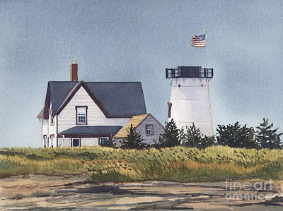 Cape Cod Painting - Stage Harbor Light Back Side by Heidi Gallo