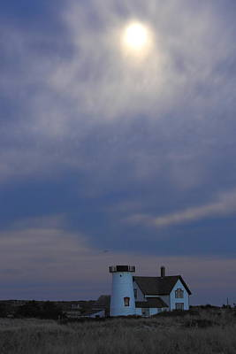 Photograph - Stage Harbor Lighthouse And Hazy Full Moon Cape Cod by John Burk