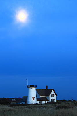 Photograph - Stage Harbor Lighthouse And Hazy Moon Twilight by John Burk