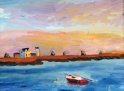 Chatham Lighthouse Painting - Stage Harbor Sunset by Michael Helfen