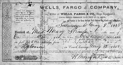 Wells Fargo Stagecoach Photograph - Stagecoach Ticket 1868 by Granger