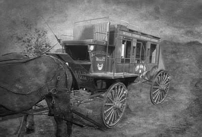 Dirt Roads Mixed Media - Stagecoach West Bw Textured by Thomas Woolworth