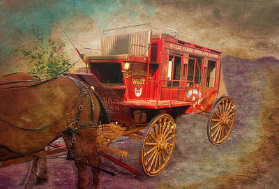 Bed Quilts Mixed Media - Stagecoach West Textured by Thomas Woolworth