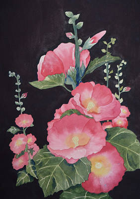 Painting - Stages-pink Hollyhock by Carol Bruno