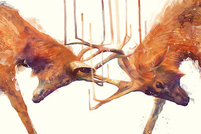 Nature Art Painting - Stags // Strong by Amy Hamilton