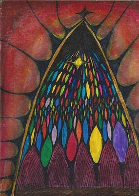 Stain Glass Window Drawing Art Print by Cim Paddock