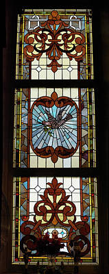 Leadlight Photograph - Stained Glass 3 Panel Vertical Composite 03 by Thomas Woolworth