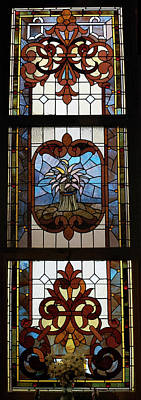 Stained Glass 3 Panel Vertical Composite 04 Art Print by Thomas Woolworth