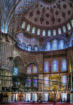 Stained Glass And Dome Of The Sultanahmet Mosque Art Print
