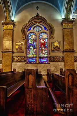 Stained Glass And Pews Original by Margie Hurwich