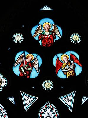 Photograph - Stained Glass Angels by Michael Saunders