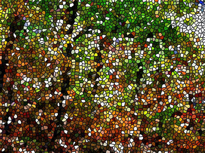 Stained Glass Autumn Colors In The Forest 1 Art Print by Lanjee Chee