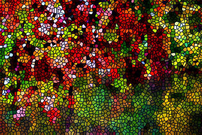 Stained Glass Autumn Leaves Reflecting In Water Art Print by Lanjee Chee