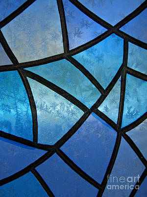 Iceflower Photograph - Stained Glass Background With Ice Flowers by Kiril Stanchev