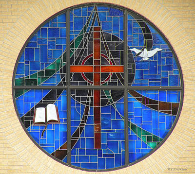 A White Christmas Cityscape - Stained Glass Church Window by Becky Erickson
