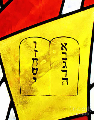 Photograph - Stained Glass Commandments by Larry Oskin