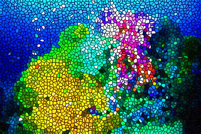 Tropical Colors Stain Glass Painting - Stained Glass Coral Reef by Lanjee Chee