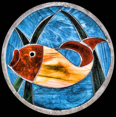 Digital Art - Stained Glass Fish by Photographic Art by Russel Ray Photos